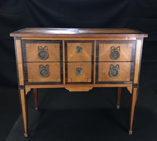 French Louis XVI Style Petite Commode Dresser or Chest on Stand Walnut and Fruitwood with Ebony Banding and Inlaid Marquetry