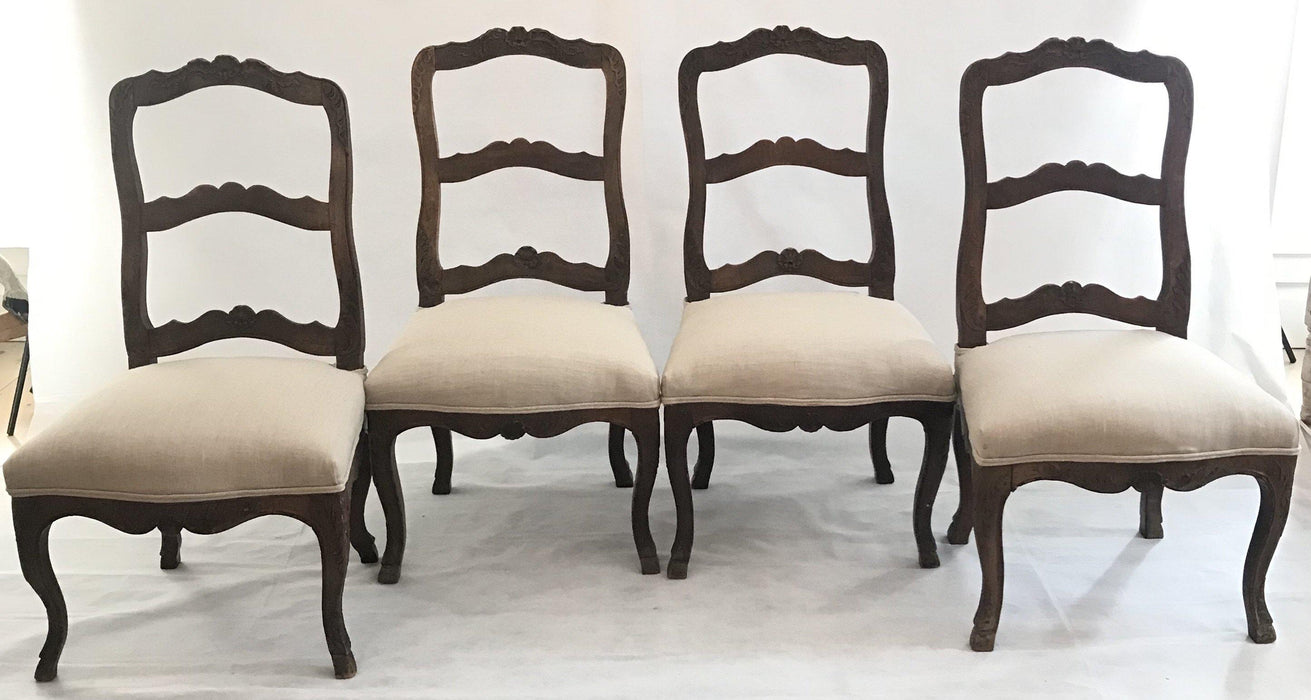 Set Four Louis XV 19th Century Carved Hoof Feet French Walnut Chairs