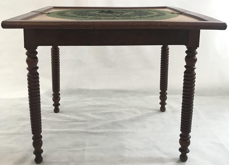 For sale: French Provincial Walnut Game Table or Console with Original Circular Patterned Felt