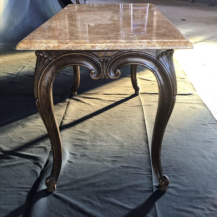 Louis XV Style Carved French Coffee Table with Marble Top