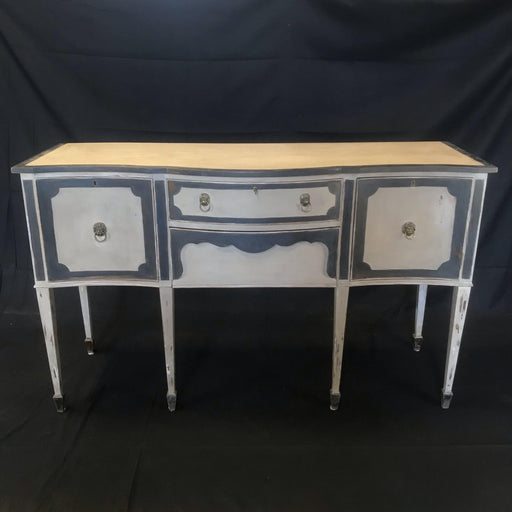 French Louis XVI Style Painted Antique Buffet Sideboard or Credenza Cabinet With Lions Head Pulls