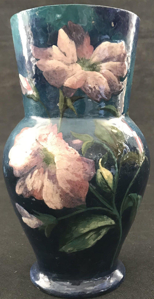 Artist Hand Painted French Floral Antique Vase for sale