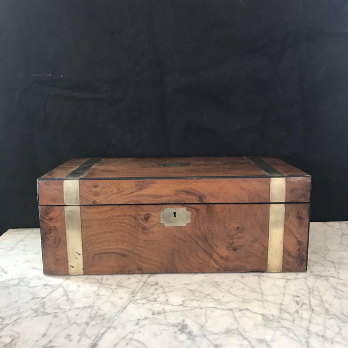British Brass Bound Antique Walnut Writing Box with Dedication Plaque