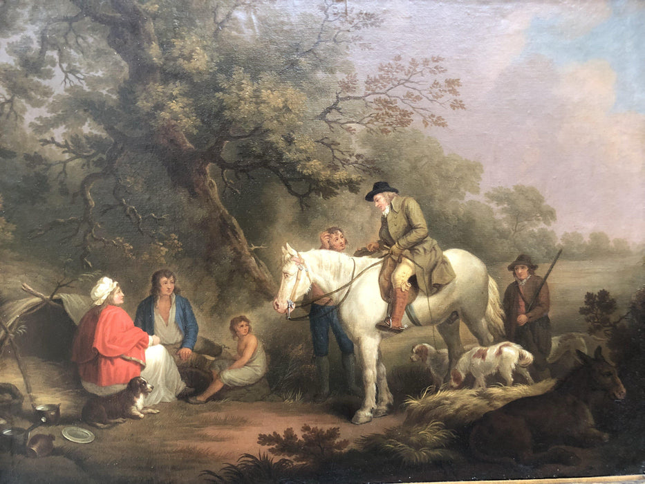 Important British Hunting Scene Oil Painting by Geo. Moreland/Thomas Hand