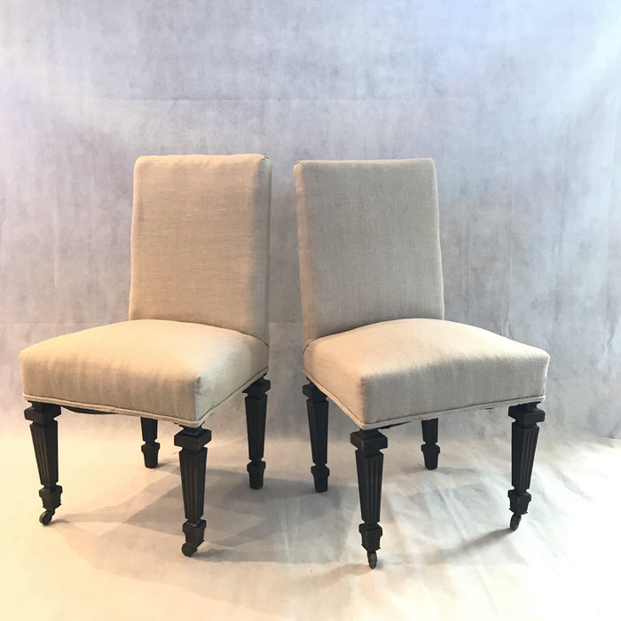 Pair french Napoleon III Chairs for sale original paint new upholstery