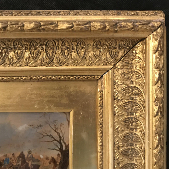 French Hunt Painting in Gold Frame