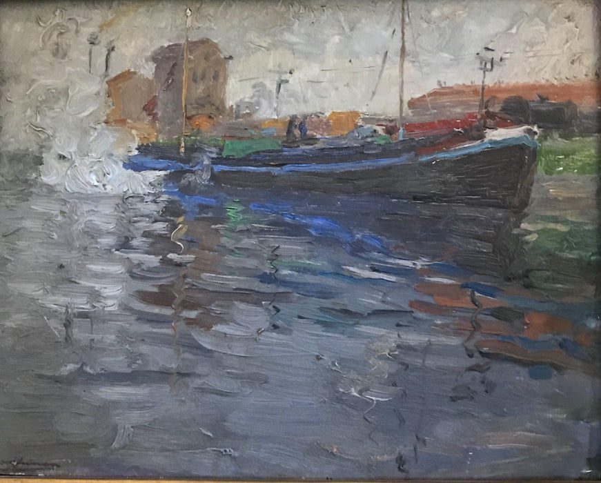 Nautical Impressionist Oil Painting by French listed artist E. Godfrinon 1878-1927 (1922) to sell
