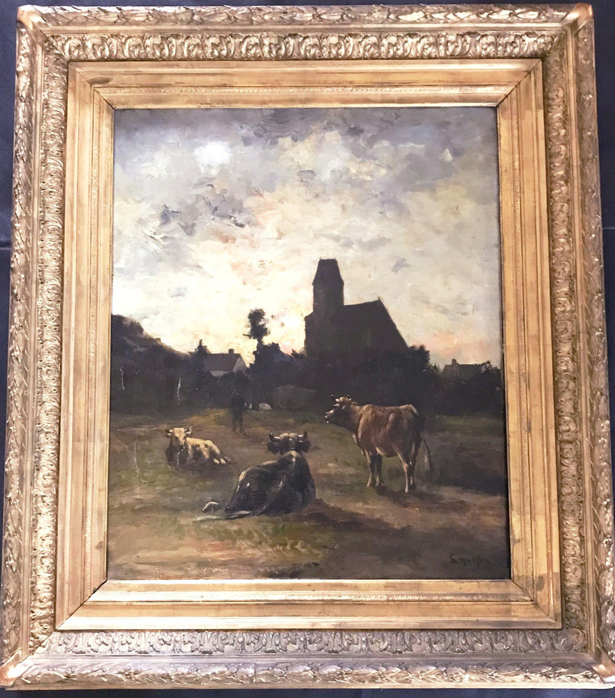 French Oil painting by listed artist Louis Remy Matifas (1847-1896) Normandy Churchyard for sale