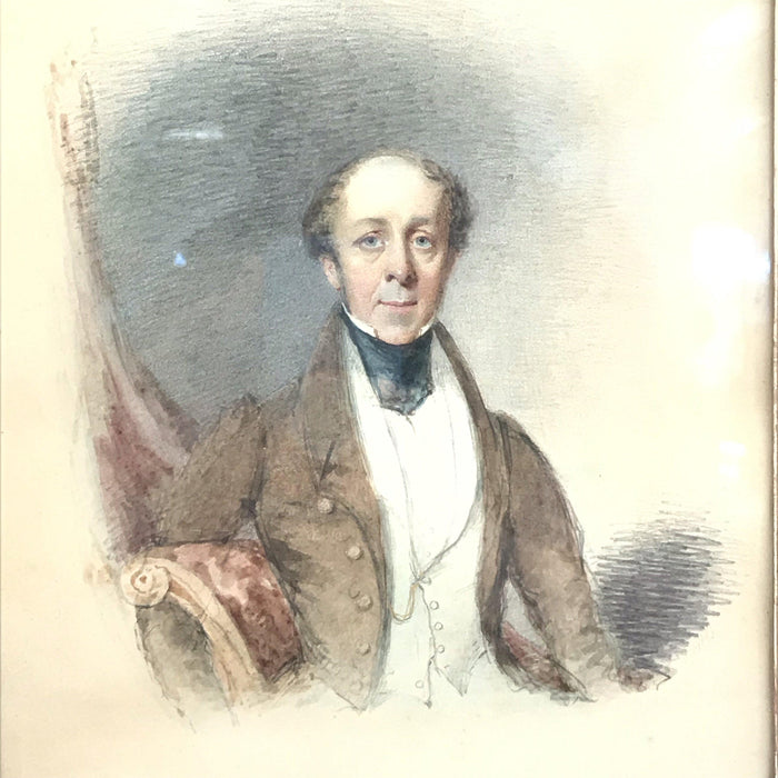For sale: Early British Georgian Watercolor of Gentleman Unsigned rare