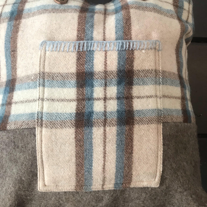 Beautiful British Wool Plaid Purse/Bag with Leather Bridle Straps to sell