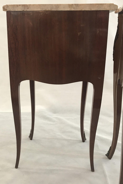 To Sell: Pair of French Inlaid Two-Drawer Marble Top Nightstands