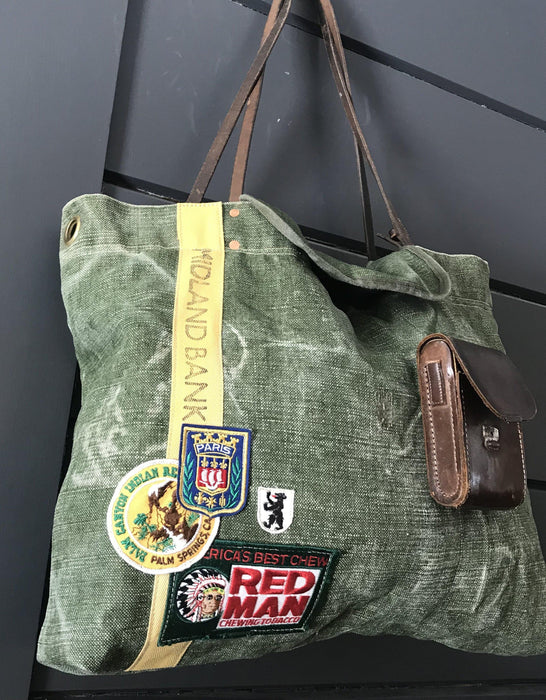 British Military Duffle/Midland Bank Bag with Vintage Camera Case Pocket, Bridle Reins and British Patches for sale