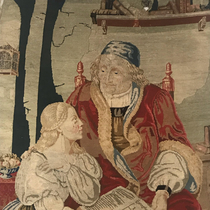 Early French Embroidery/Tapestry Priest and Maiden