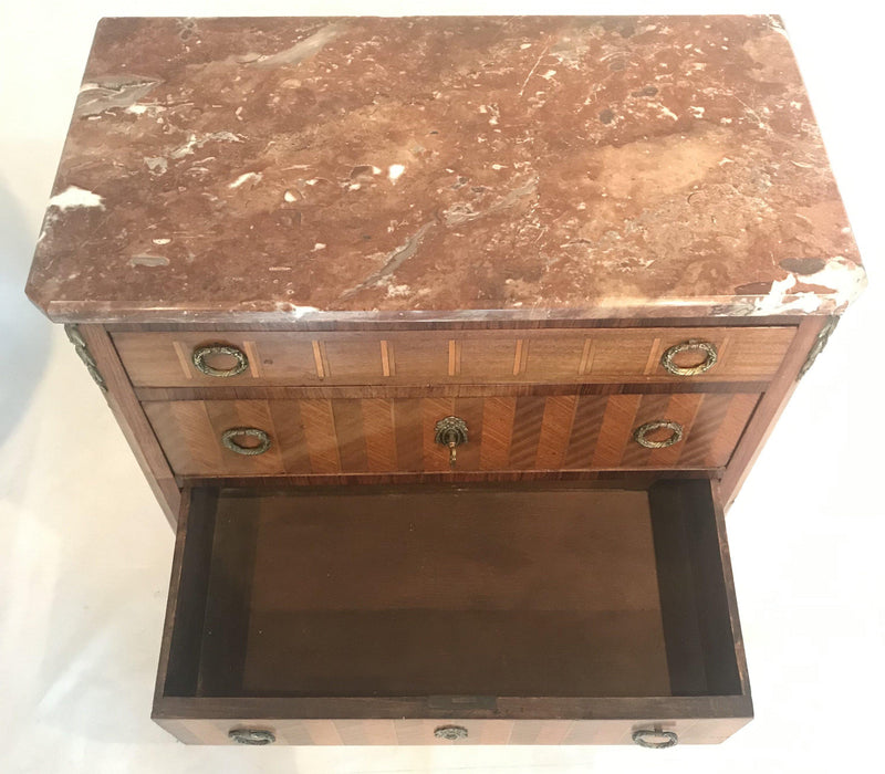 Antique French Inlaid Marquetry Three-Drawer Commode with Marble Top