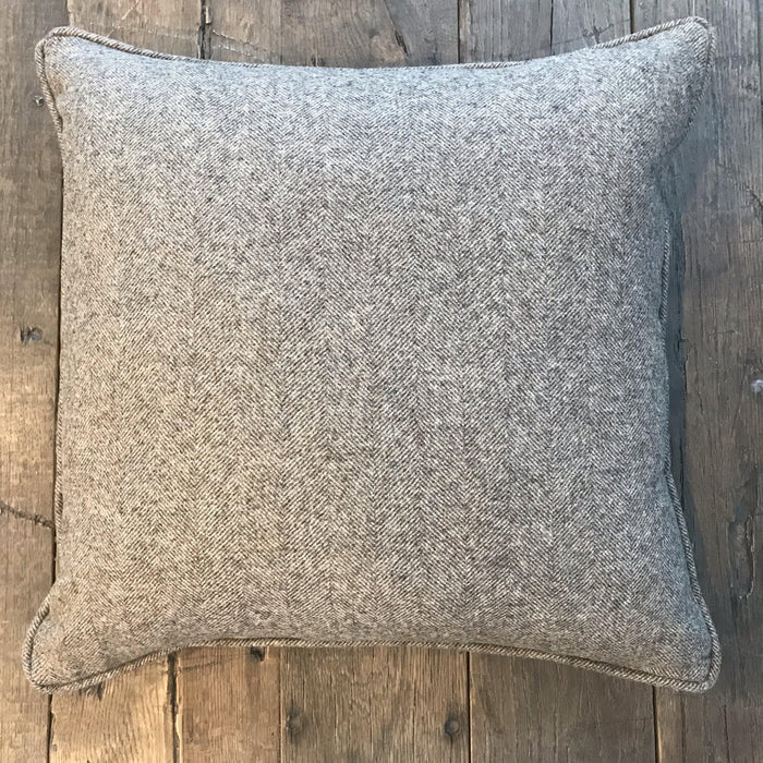 British Gray Wool Herringbone Pillow (New) for sale