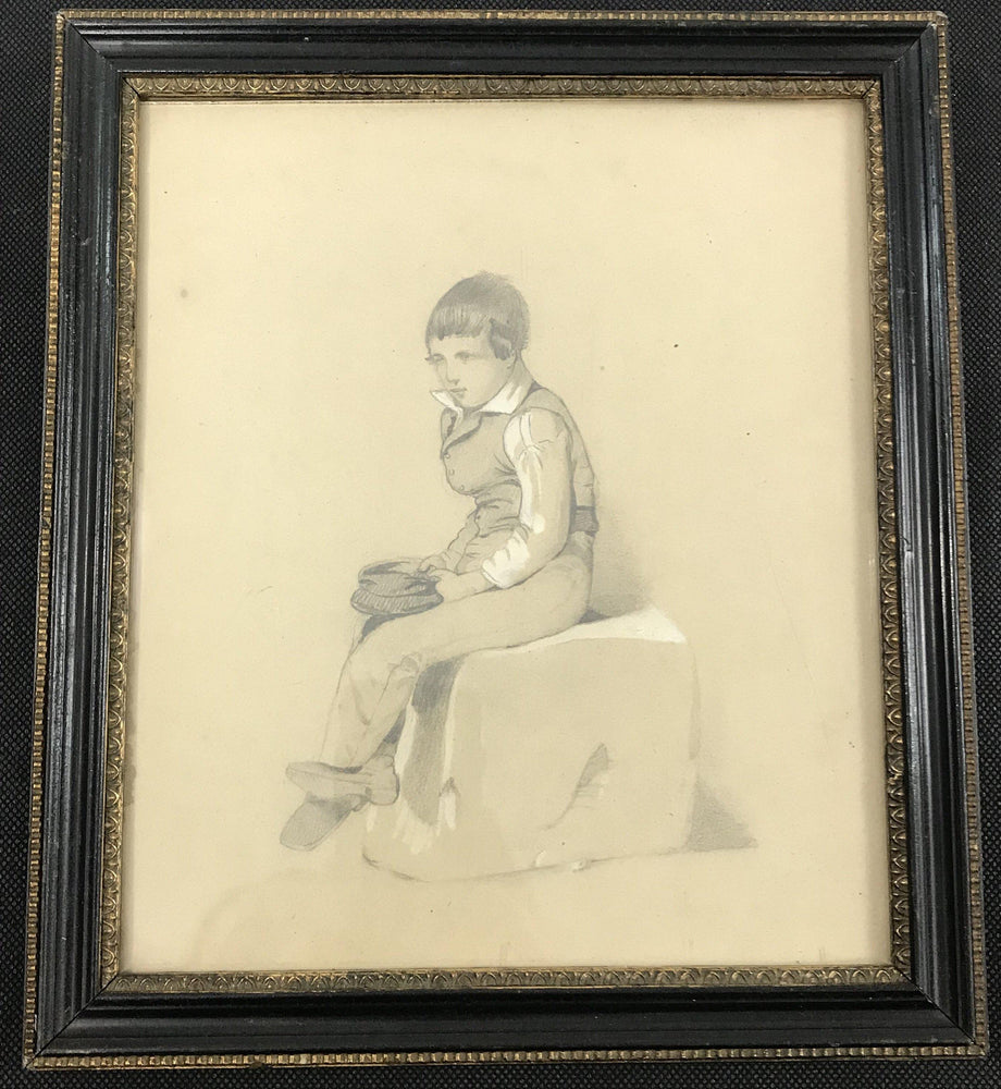 British Early Pencil Drawing of a young boy seated holding his cap. Bought in the North of England. For sale