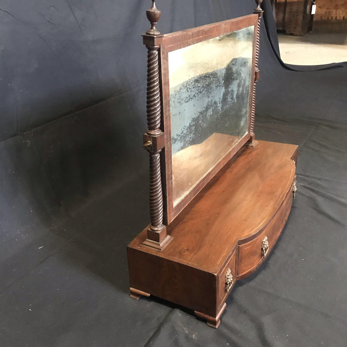 Georgian Regency Mahogany Dressing Table Swing Mirror Toilet with Lions Head Pulls