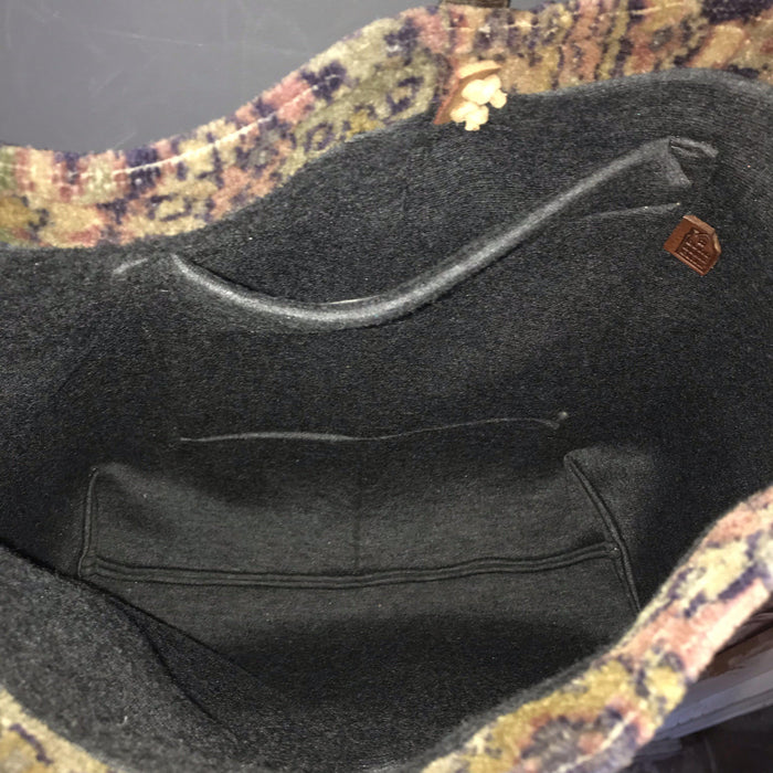 For sale: antique Classic vintage chenille Purse/carpet bag, with vintage leather buckle and military bridle strap