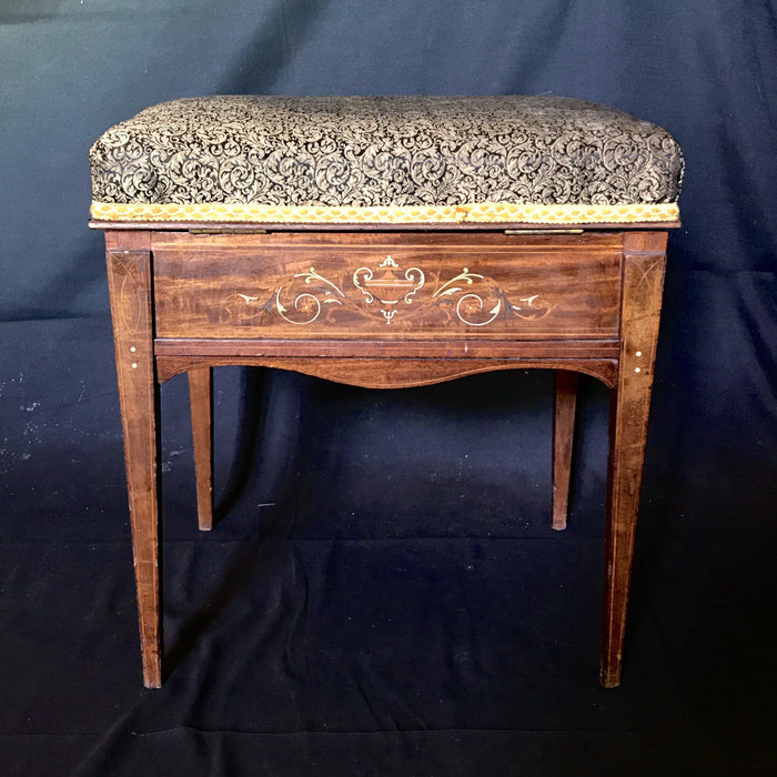 Beautiful Antique English Marquetry Bench, Piano Bench or Ottoman with Storage Inside