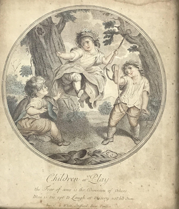 "18th Century British ""Children at Play"" Hand Colored print in lemon gold frame"