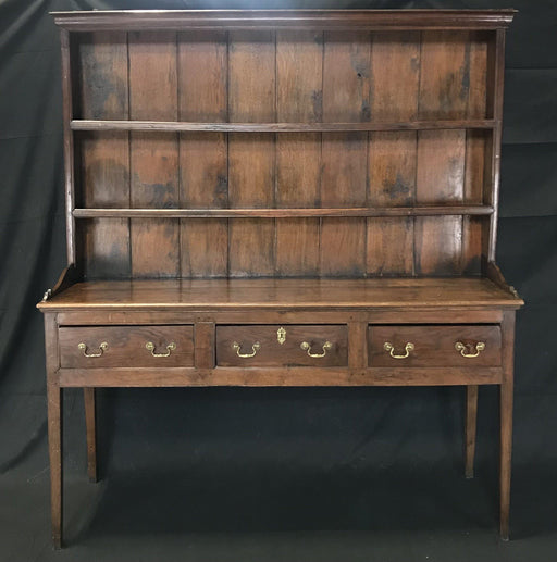 Early 19th Century British Tall Oak Dresser, Sideboard with Shelves or Cupboard