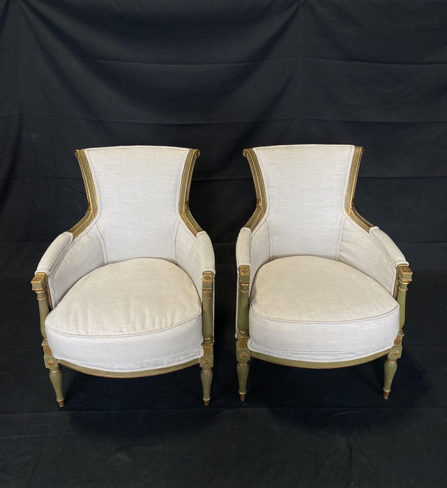 Pair of Period French Early 19th Century Painted Neoclassical Armchairs or Bergeres