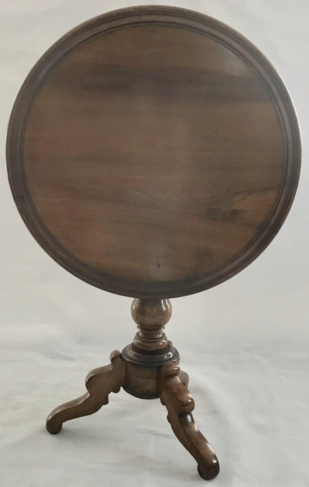 19th Century French Walnut Round Side Tilt Top Table with Intricately Turned Legs