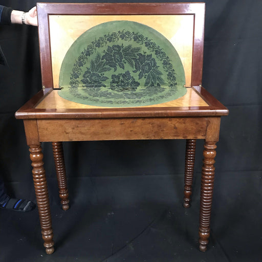 French Provincial Walnut Game Table or Console with Original Circular Patterned Felt