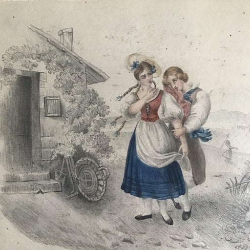 Early (1927) signed (H. Hall) British original Pencil/Watercolor