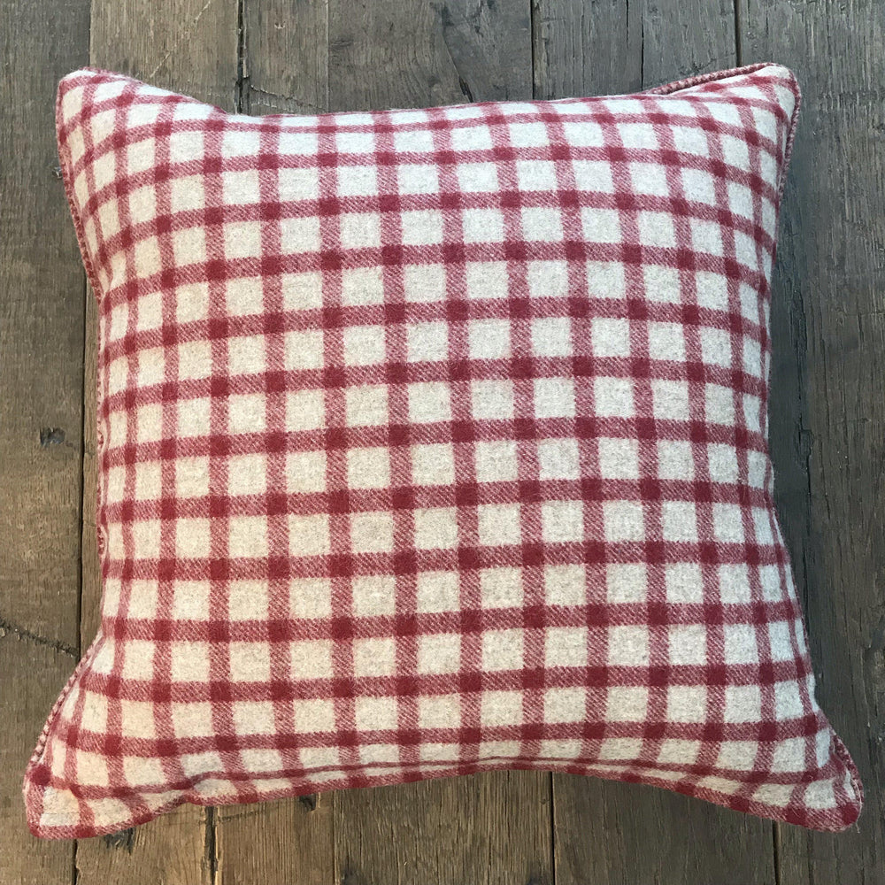 British Traditional Red/Beige Plaid Wool Pillow with Contrasting Checked Piping for sale