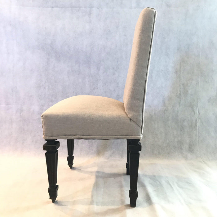 French Napoleon III chairs antique black original frame and paint new upholstery bought in Avignon