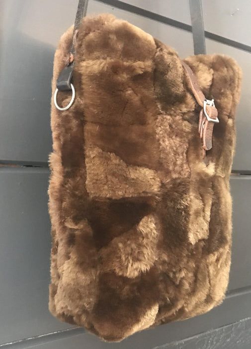 Buy this British Sheepskin Fur Purse/Bag with Belgian Postal Wallet Pocket and Quilted Silver Lining with Bridle leather straps