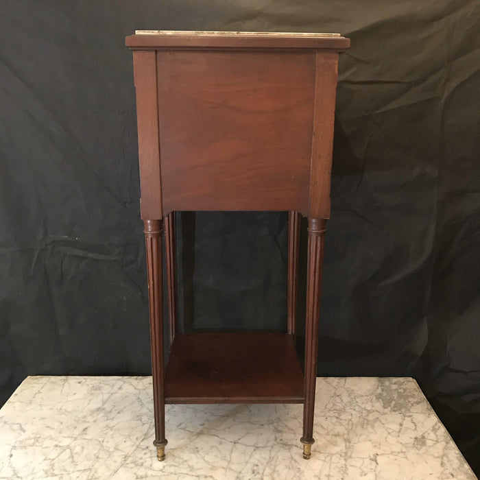 French Louis XVI Nightstand Bedside Cabinet or Side Table with Carrera Marble Top and Interior
