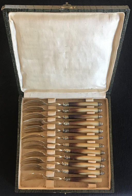 French Gold, Silver and Horn Dessert Fork Set
