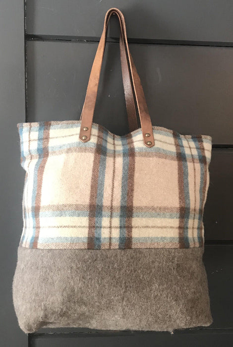 Beautiful British Wool Plaid Purse/Bag with Leather Bridle Straps buy this