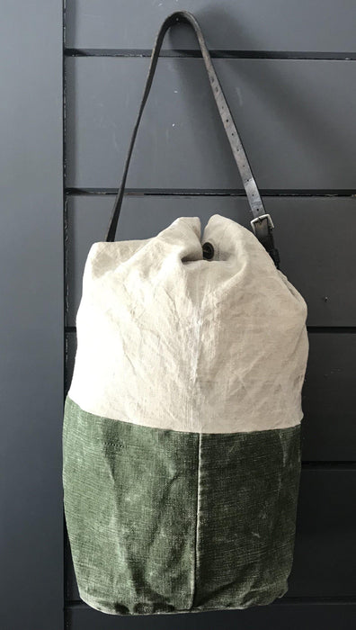 French Linen Duffle Bag/Purse with Belgian postal wallet and vintage bridle leather strap to sell