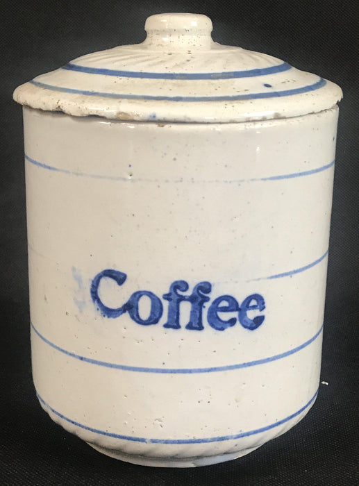 For sale: Vintage Blue and White Ceramic Coffee Canister