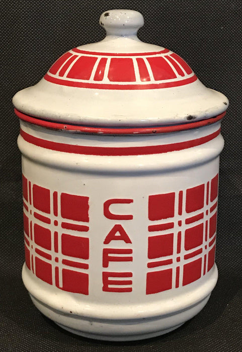 Antique French Six Piece Red and White Enamel Canister Set For Sale