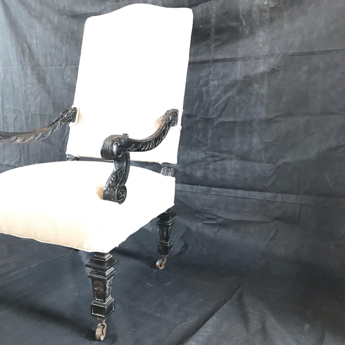 Early French Louis XIV Antique Armchair Beautifully Carved (Reupholstered)