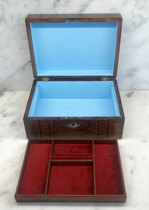 To Sell: British Inlaid Wood Box with Mother of Pearl Accents