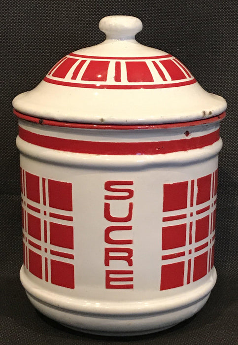 French Six Piece Red and White Enamel Canister Set To Buy
