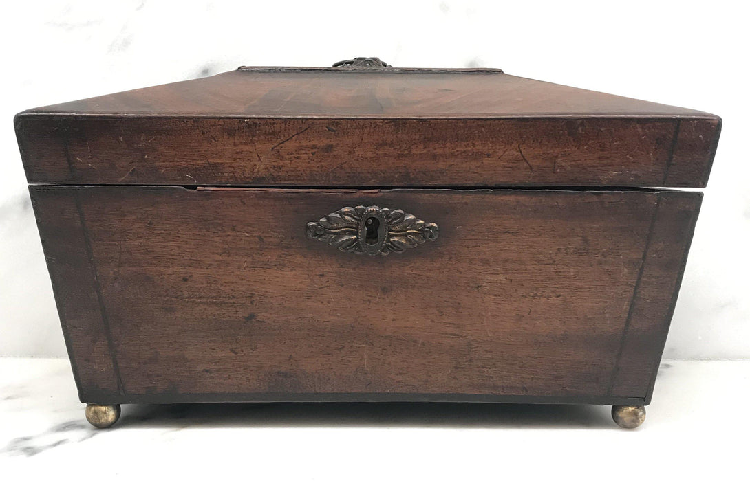Antique British Regency Tea Box with Original Key
