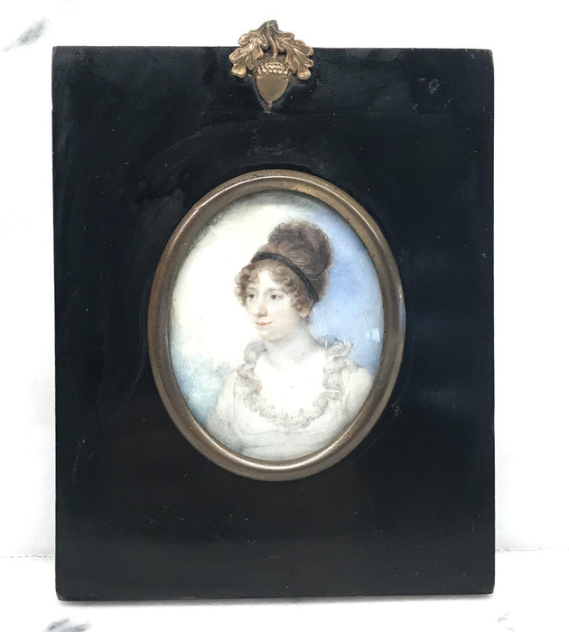Early Georgian Miniature Painting Young Aristocratic Woman for sale