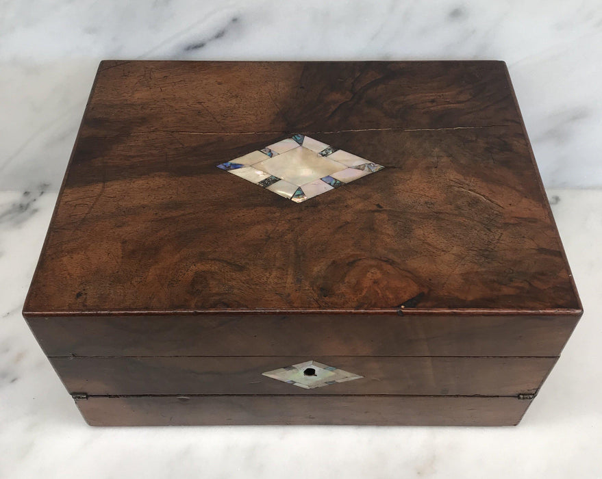 For Sale: British Walnut Writing Slope/Desk with Inlaid Mother Of Pearl