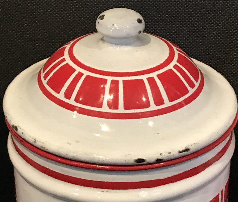 To Sell: French Six Piece Red and White Enamel Canister Set