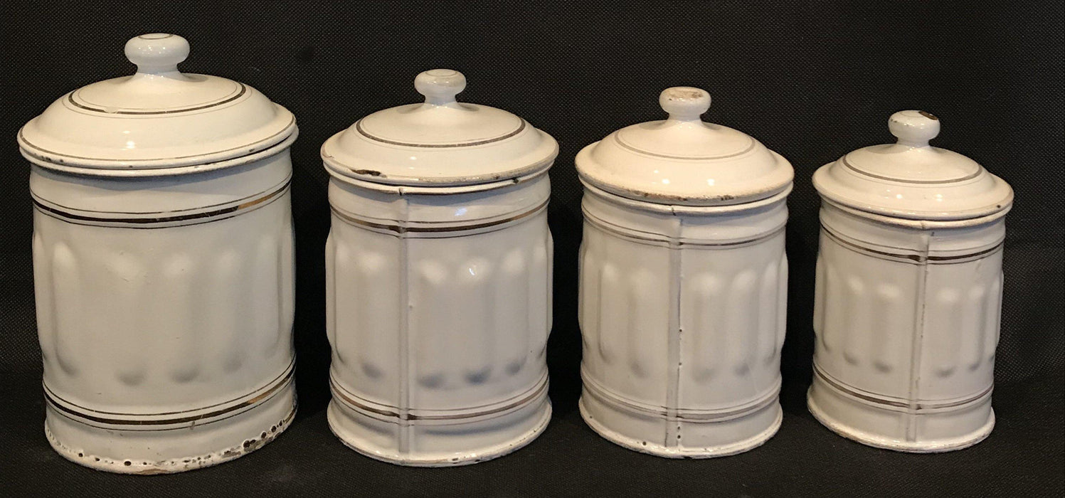 Buy this French Four Piece Enamel Canister Set White/Gold