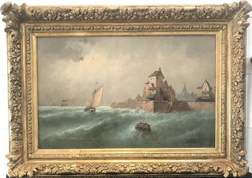 Early Antique French Oil Painting by Listed Artist Gustave Mascart 1834-1914 (G. Mariani)