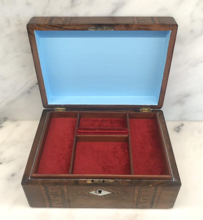 British Inlaid Wood Box with Mother of Pearl Accents To Sell
