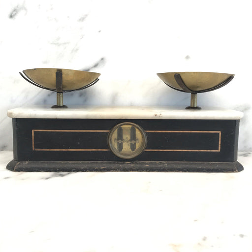 19th Century French Napoleon III Marble Culinary/Kitchen Scale from Boulangerie or Bakery