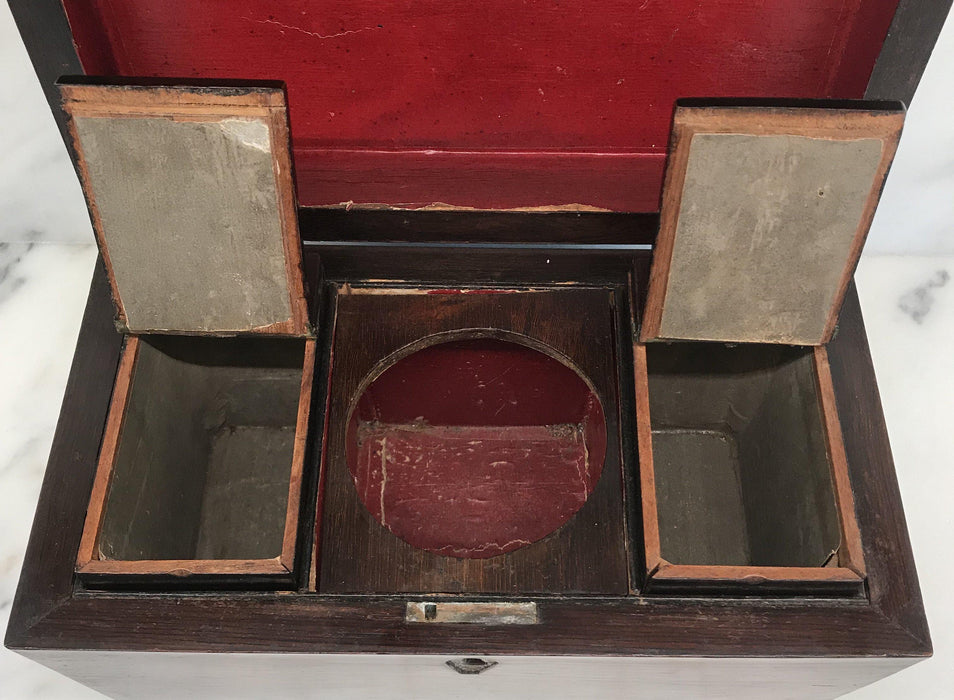 Rare British Rosewood Georgian Tea Box with Original Key For Sale